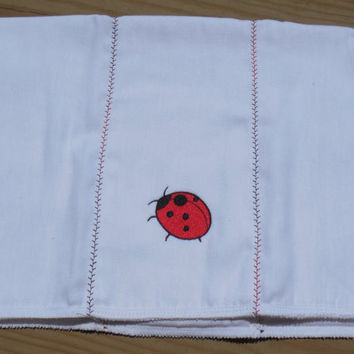 Lady Bug Burp Cloth, Baby Shower Gift- Embroidered Girl or Boy Burp Cloth