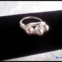 Silver Plated Beads Wire Wrapped Silver Non-Tarnish Ring Size 8 1/2
