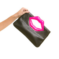 Vintage 90's Lips Like Sugar Faux Leather Clutch