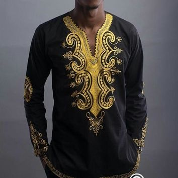 African clothing 2018 African Dashiki African National Style Printing V-neck Long Sleeve T-shirt Men's Shirt Plus Size