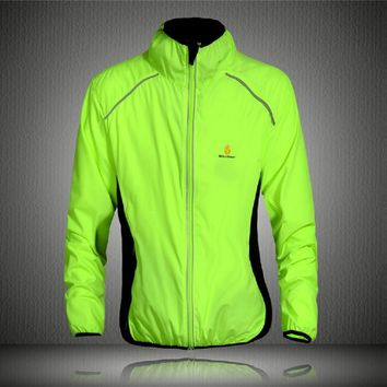 WOSAWE Tour de France Light Weight Breathable Green Cycling Coat Jacket Bike Windbreaker Reflective Jersey Bicycle Wear Clothes
