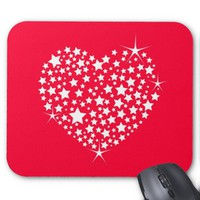 Red And White Glitter Heart Mouse Pad