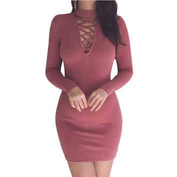 Autumn Winter Back Zipper Cotton Sweater Dress 2016 New Turtleneck Long Sleeve Criss Cross Women Bodycon Party Dresses