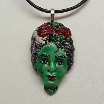 Hand Painted Frankentstein Day of the Dead Sugar Skull Necklace - Dia de los Muertos, Skeleton, Girl, Goth, Rockabilly, Tattoo, Halloween