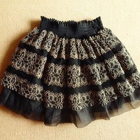 Romantic Gothic Princess Skirt. Black Mesh Gold Lace Full Skirt