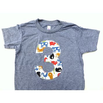 ANY NUMBER Farm Birthday Shirt- Boys  Birthday T Shirt - Tractors and Animals Cow Sheep Pig Chicken RoosterAND