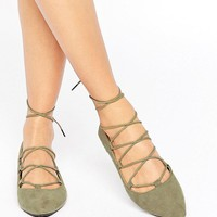 RAID Ghillie Khaki Flat Shoes at asos.com