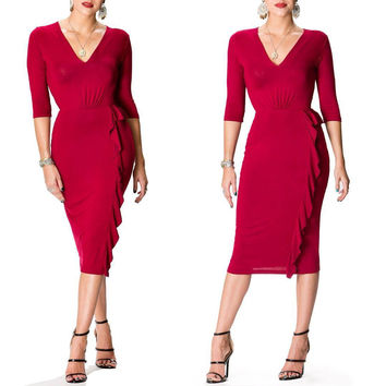 Rose V-Neck Plain Ruffle Dress with 1/2 Sleeves