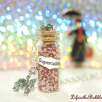 Mary Poppins, Magical Supercalifragilisticexpialidocious Necklace with a Carousel Horse Charm, Disney inspired, by Life is the Bubbles