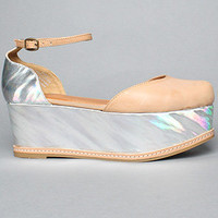Jeffrey Campbell The Suebee FlatForm Shoe in Natural and Silver Hologram
