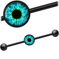 Eye Aqua Explosion Iris Industrial Barbell | Body Candy Body Jewelry