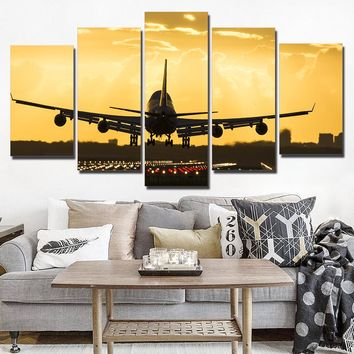 5 piece Golden Sunset Jet Airplane Wall Art on Canvas Print Framed Unframed