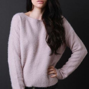 Fuzzy Lattice Back Long Sleeves Sweater