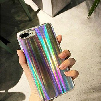 iPhone 7 Plus/8 Plus Case Psychedelic Rave Holographic Iridescent Sparkle Bling Glitter Shiny Reflective Cover With Laser Beam [Extra Thin Soft TPU Protective Case] (Colorful, iPhone 7 Plus / 8 Plus)