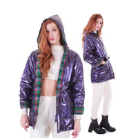 90s Vintage PVC Metallic Raincoat Purple Wet Look Vinyl Wippette Hooded Quilted Flannel Lining Rain Winter Coat Jacket Women Size Medium