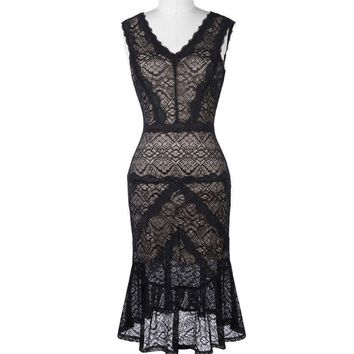 Black Short Cocktail Dresses Women Lace Party Dress Knee Length Mermaid Style Cocktail Prom Dress