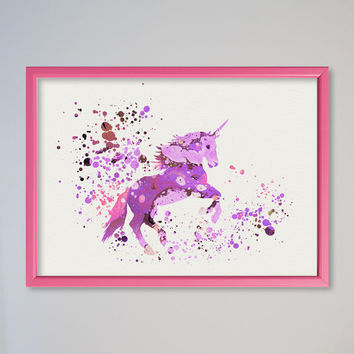 Unicorn Poster FRAMED Watercolor Print  Nursery Art Picture Pony Poster
