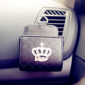 New Fashion Car Phone Holder Bag lover gift- PU Car Monogram Car Trash Bag Interior Accessories