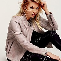 Free People Womens Reminiscent Motorcycle Leather Jacket