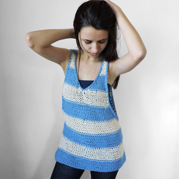 FREE SHIPPING Knit top Yoga top Sports top Striped tank Ivory Sky blue Loose tank Womens sports tee Summer tank top Ready to ship