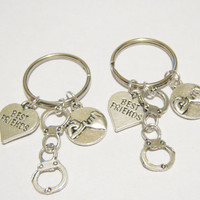 2 Partners In Crime Handcuff Pinky Promise Best Friend Heart BFF Keychains