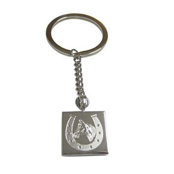 Silver Toned Etched Horse and Horse Shoe Pendant Keychain