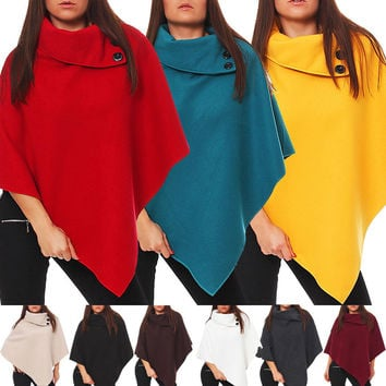 New Womens Ladies Wool Cloak Batwing Coat Jacket Poncho Funnel Neck Stylish Cape