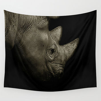 Rhino tapestry, black tapestry, animal tapestry, nature tapestry, African tapestry, wall tapestry, black and white, rhino decor, rhinoceros