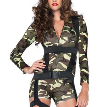 DCCKLP2 2PC.Goin' Commando,spandex romper,body harness in CAMO