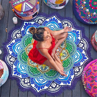 Beach towel Tassel Indian Mandala Tapestry Totem Lotus Printing Beach Towels Yoga Mat Sun block Round Bikini Cover-Up Blanket