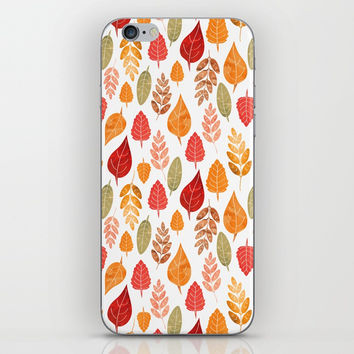 Painted Autumn Leaves Pattern iPhone Skin by Tanyadraws