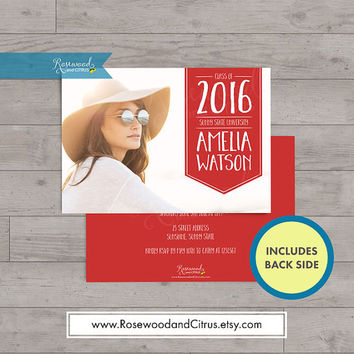 Photocard Graduation Printable, Class of 2016 Graduation Announcement, Graduation Party Invitation, Grad Party Printable,Red, Blue or Yellow