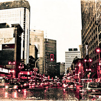 Photo of Traffic on City Street - Fine Art Photo Entitled Traffic - 8 X 12