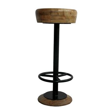 Industrial Style Adjustable Swivel Bar Stool With Hoopo Footrest