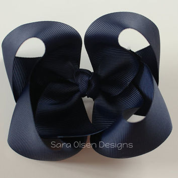 Navy Blue Hairbow, Extra Large Twisted Hairbow, Butterfly Boutique Bow, 4 Inch, Girls Hairbow, Toddler Hairbow, Children's Hair Accessories