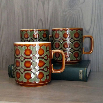 Hornsea Pottery, Bronte, Brown Mugs, Set of 3 Cups, 1976, Vintage British Ceramics, Boho decor, Arts and Crafts, British Design, Pen Mug