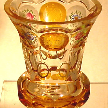 910554 Crystal Glass With 8 Cut Circles Amber Flashed With Engraving Pattern