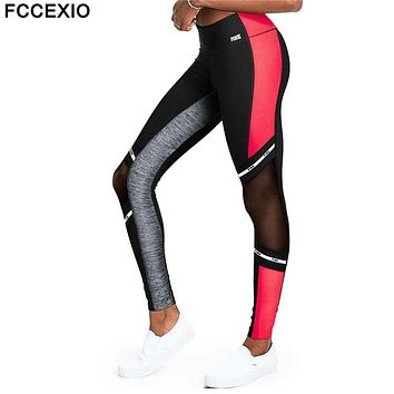 FCCEXIO New 2018 Love Pink Fitness Elastic Sporting Leggings Women Workout Legging High Waist Sporting Patchwork Women Leggings