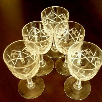 Liquor Cordial Crystal Glasses, Port Wine Glasses ,Sherry Glasses, Crystal Small  glasses, Vintage 1930, Table Accessories