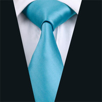 Men Tie Blue Solid Neck Tie Silk Jacquard Ties For Men Business Wedding Party