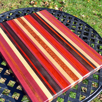 Handmade Extra Large Wood Cutting Board  - Purpleheart & Lcewood