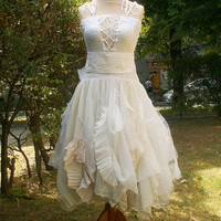 Alternative Upcycled Wedding Dress with Pieces of Hand-dyed in Tea Fairy Tattered Romantic Upcycled Woman's Clothing Shabby Chic Funky Eco