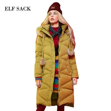 Elf SACK p99 winter fashion hair bulb raccoon fur with a hood loose long design down coat female