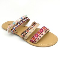 Women's Beige Tribal Embroidered Sandal with Multicolored Beads
