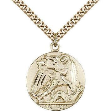 "Saint Michael The Archangel Medal For Men - Gold Filled Necklace On 24"" Chain... 617759156768"