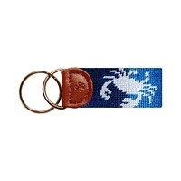Patchwork Crab Needlepoint Key Fob in Blue by Smathers & Branson