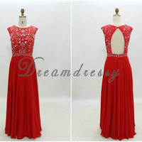 Elegant prom dress, red pro dress, chiffon prom dress, long beading prom dress, dress with open back, cheap dress 8018