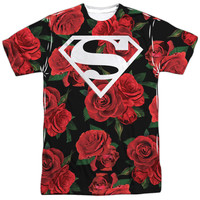 SUPERMAN/SUPER FLORAL-S/S ADULT POLY CREW-WHITE