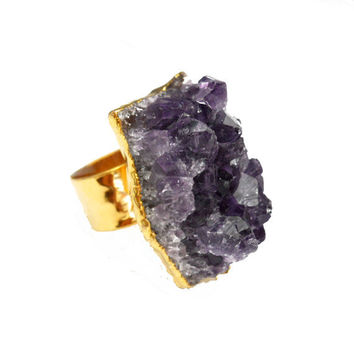 Amethyst Cluster Druzy Ring 24K Gold Plated - Druzy Ring