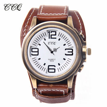 Unisex Vintage Punk Genuine Leather Watch With Wide Band Big Dial Watch Hours Bracelet Strap Wrist Watch For Women Men